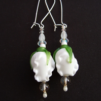 White floral glass earrings