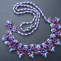 Lilac-blue drop necklace