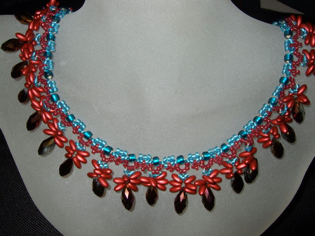 Turquoise and Rust Red Vibrancy, necklace