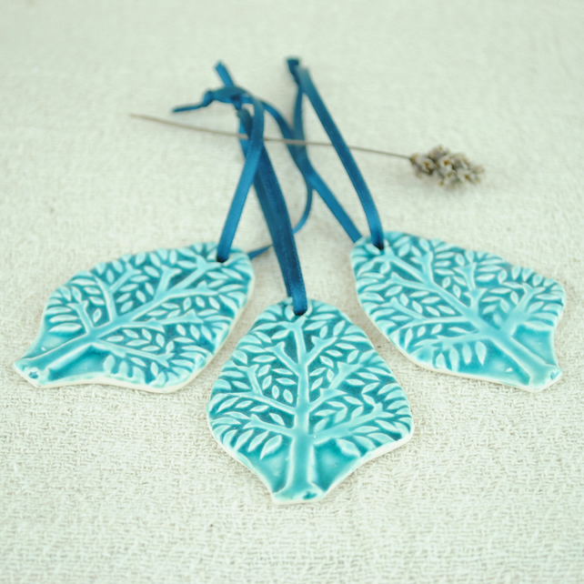 Green Tree Decorations (Set of Three)