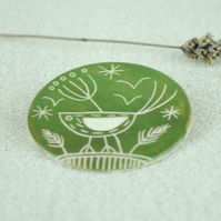 Large Ceramic Bird Brooch (Green)