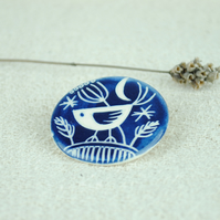 Ceramic Bird Brooch (Dark Blue)