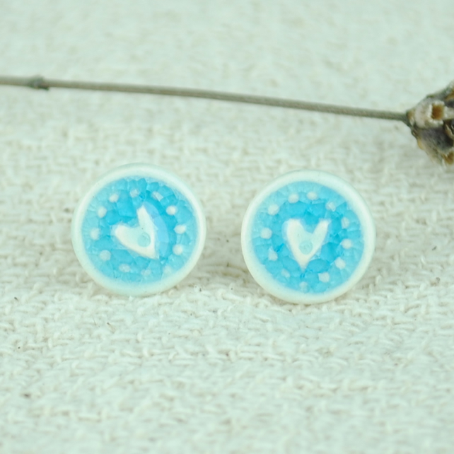 Ceramic Turquoise Heart Earrings