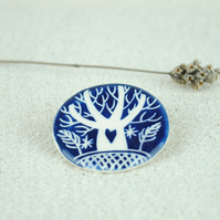 Ceramic Tree Brooch (Dark Blue)