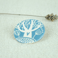 Ceramic Tree Brooch (Blue-Grey)