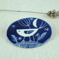 Large Ceramic Bird Brooch (Dark Blue)
