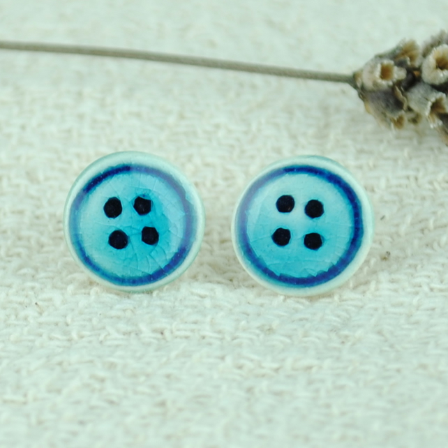 Ceramic Button Earrings