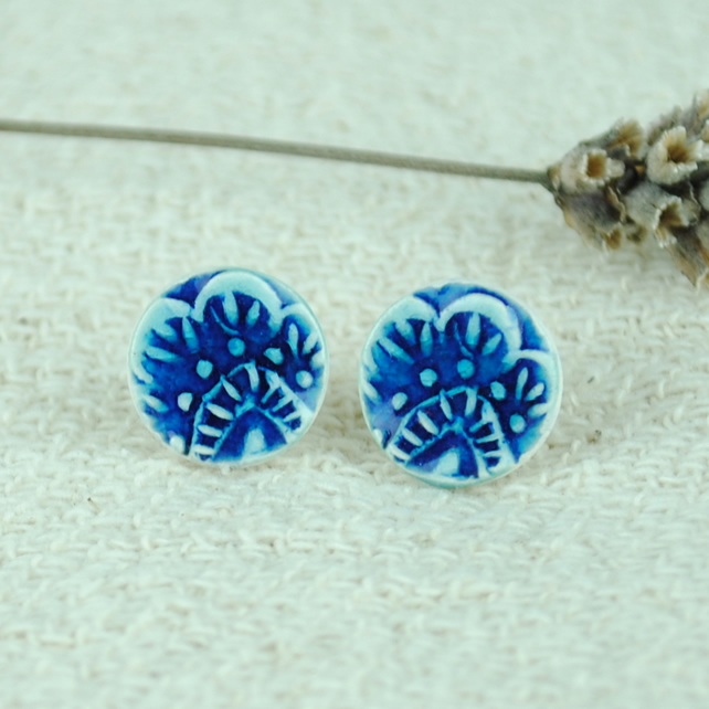 Ceramic Textured Blue Earrings