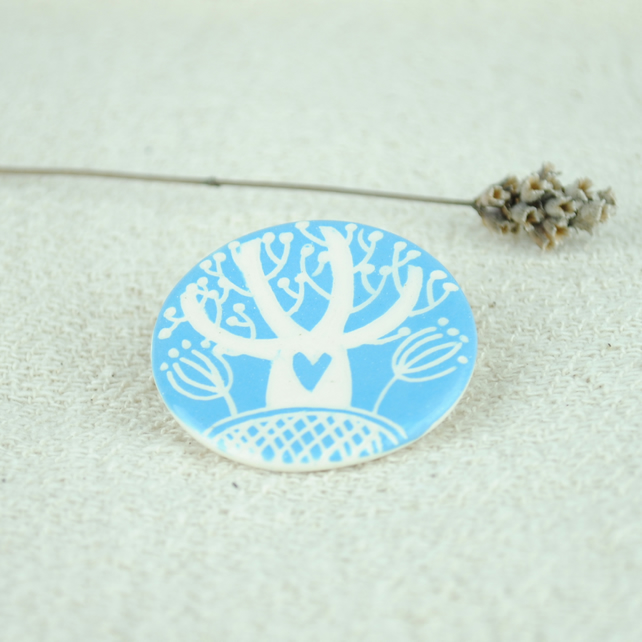 Ceramic Tree Brooch (Turquoise)