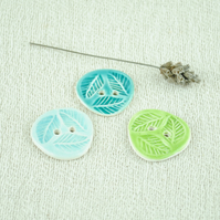 Green Leaf Buttons (Set of Three)