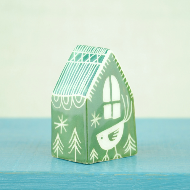Little Ceramic House (Green)