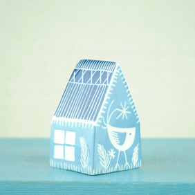 Small Ceramic House (Blue-Grey)