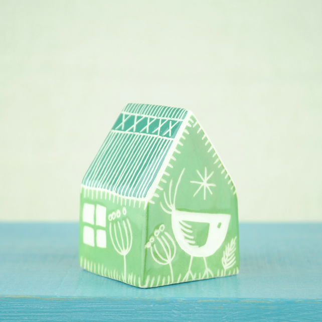 Small Ceramic House (Green)