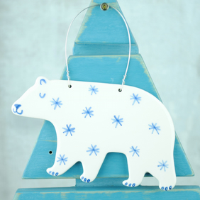 Ceramic Polar Bear (with Star) Decoration