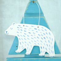Ceramic Polar Bear (with Fur) Decoration