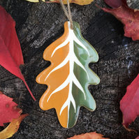Ceramic Orange-Lime Green Leaf Decoration