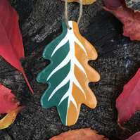 Ceramic Dark Green-Orange Leaf Decoration