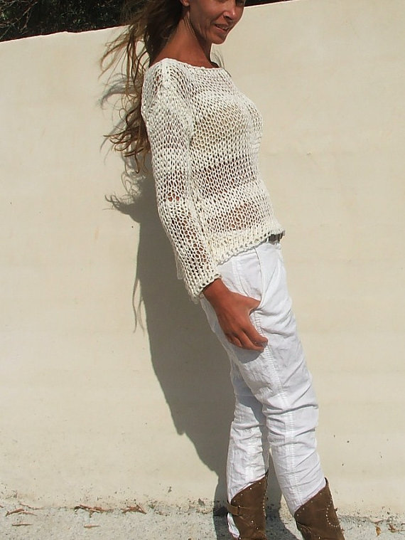 White cotton mix summer sweater
