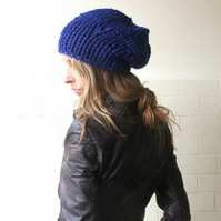 Electric blue chunkier hat