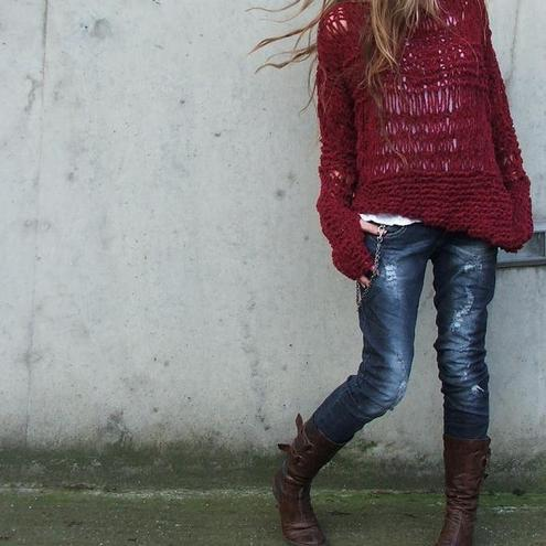 Garnet red asymmetrical Version2 oversized grunge sweater