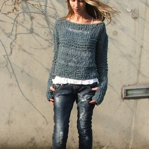 Teal blue grunge sweater