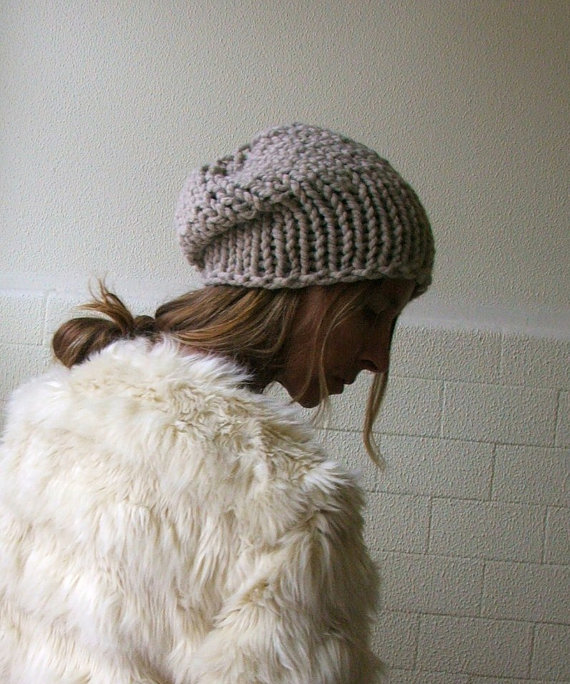 Fawn stone chunkier hand knit Autumn hat vegan friendly