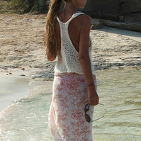 ivory white cotton tank, beach cover up