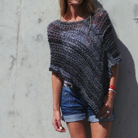black and grey poncho