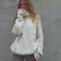 Polo neck sweater, alpaca mix ivory sweater, polo neck sweater