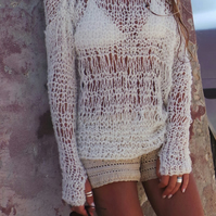 ivory white loose knit summer boho sweater