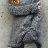 Grey sweater dress,  alpaca mix knitted sweater