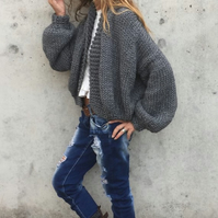 Gray bomber jacket, chunky knitted cardigan