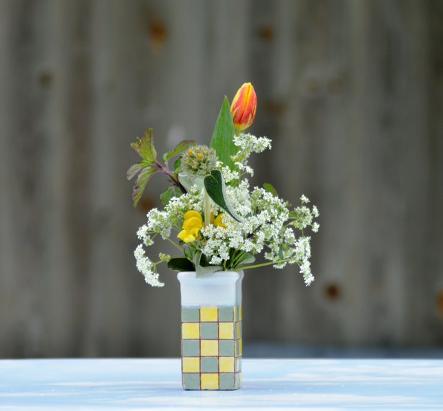 Yellow and green chequerboard vase