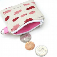 Happy Hippo Coin Purse - Japanese Fabric