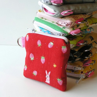 Small Purse - CUTE Strawberries and Bunnies