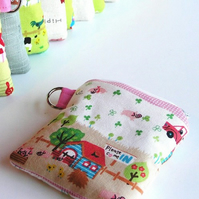 Small Purse - Farmyard in Pink
