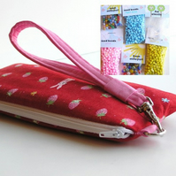 Jewellery Kit and Wristlet - CUTE strawberries & bunnies