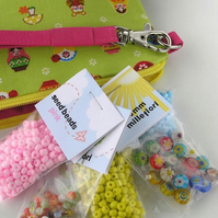Bead Kit and Wristlet - Green Matryoshka (Pencil case size)