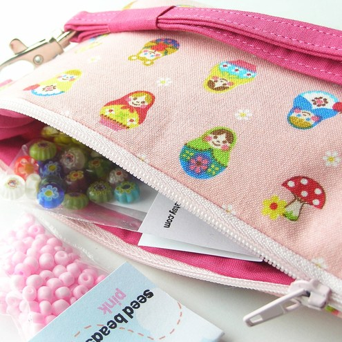 Bead Kit and Wristlet - Pink Matryoshka (Pencil case size)