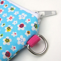 CUTE Coin Purse - Blue Flowers - Japanese Fabric
