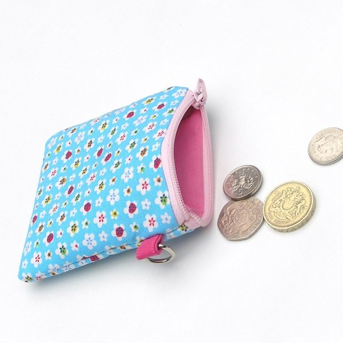 Coin Purse - Blue Flower pattern