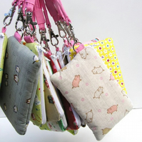 Cute Wristlet Purse - Japanese Fabric - Pigs!