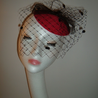Red Straw Veiled Fascinator with Black Crin Bow veiled headpiece wedding hat