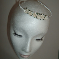 Cream Paper Roses Headband RoseTiara bridal tiara bridesmaid Tiara wedding tiara
