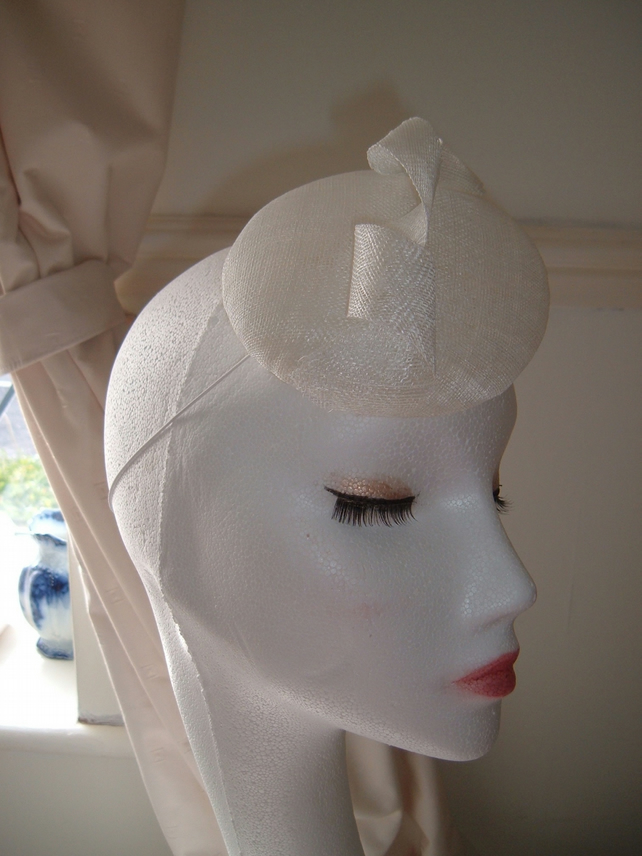 White Twist Sinamay Button Hat - Hand Blocked