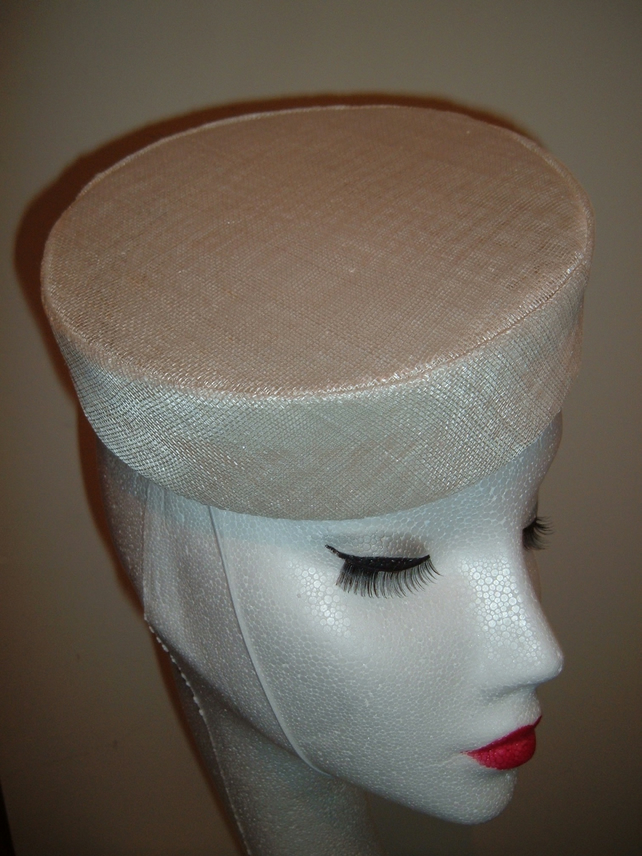 White Sinamay Pillbox Hat - Handblocked
