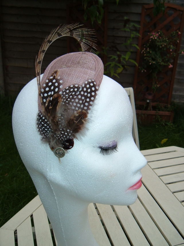 Pheasant & Guinea fowl Feather Latte Teardrop - Fascinator