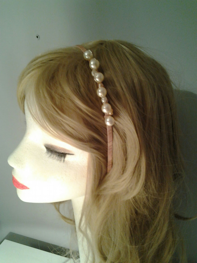 Wired Pearl and Organza Ribbon Hair band