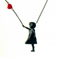 Banksy girl with heart black acrylic laser cut and etched necklace