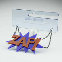 ZAP Brooch or NECKLACE in blue and yellow or red and blue funky colour combos.